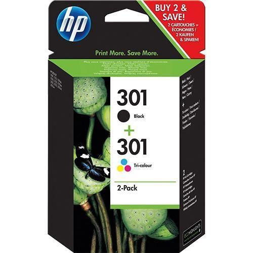 Pack 2 Tinteiros HP 301 Preto e Cores – N9J72AE 1